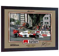 Ayrton Senna signed autograph photo PRINT Formula 1 Champion ayrton senna Framed