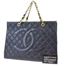Auth CHANEL CC GST Quilted Chain Hand Bag Caviar Leather Black Vintage 636LB051