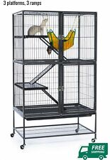 Ferret Cage Large Pet Cage 3 Levels Rolling Small Rabbits Guinea Pig Pets Home