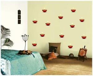 Set of 12 pcs Beautiful Diyas PVC Wall Stickers