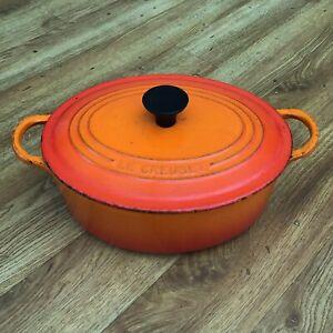 Le Creuset Volcanic Orange Size C Oval Casserole Dish Pan Dutch Oven Pot Vintage