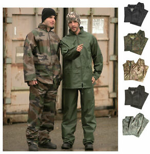 NEU Regenanzug mit Kapuze BW Regenjacke und Regenhose S-4XL Armee Outdoor