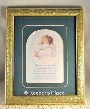 Framed Matted Baby Angel Jesus Once An Infant Small Poem w/ Ornate Gold Frame EC