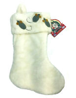 """Holiday Stocking Cat N' Mice Christmas Gift Snow White Glitter VoToy 14.5"""" NEW"""