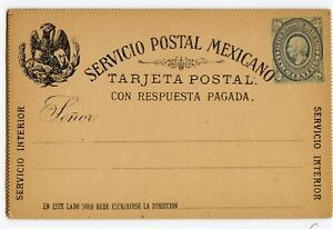 MEXICO REPLY CARD 5c+5c, EARLY ISSUE, LIGHT EDGE TONING                  (A824)
