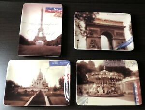 Set of 4 Restoration Hardware Paris Postcard Theme Appetizer Plates NIB
