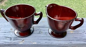Vintage Ruby Red Glass Sugar And Cream Set Footed Cranberry Serving