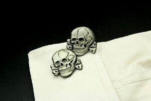 Custom Made Cufflinks Handmade Skull Cross Black Eye Evil Satin Silver Shirt USA