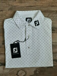 NEW FootJoy Mens Lisle Diamond Print Golf Polo Medium White/Navy 25725