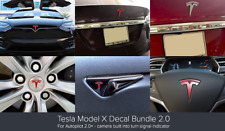 Tesla Model X Decal Bundle 2.0 - for Autopilot 2.0 (camera in turn signal) Red