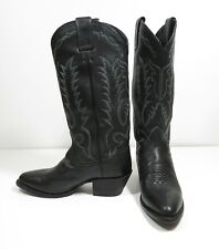 FRYE Black Leather Cowboy Boots UK Size 4 US 6 EU 36.5 Cuban Heel Embroidered