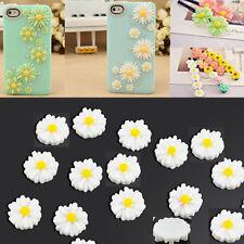 20Pcs DIY White Resin Daisy Flower Flatback Button For Scrapbook Embellishment
