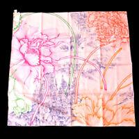 HERMES Carre A l'Ombre des Pivoines Scarf Silk Pink Authentic 01978