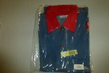 Blair denim button up w/ red collar Apple appliques Small unused w/ tags