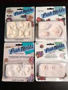 Vtg LOT of 4 Amaco Judi Maddigan Push Molds Pansies Roses Teddy Bears Large Rose