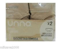 Braguitas Unno pack 2 bragas sin costuras bikini Smart confort carne S/M