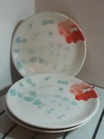 Set of 3 Ceramic Plates Threshold-Eva Stoneware Portugal Aqua Blue Rose Red