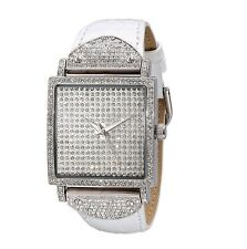 NEW-PEUGEOT SILVER TONE,WHITE LEATHER BAND,CRYSTAL PAVE DIAL WATCH J5667WT