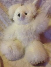 100% Alpaca TINY White And Brown Teddy Bear!! SOOO ADORABLE! Super Soft (120)