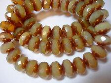 25 8x6mm Butterscotch Opal w/ Bronze Czech Glass Rondelle beads