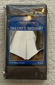 """NWT Today's Home Tailored Bedskirt 14"""" Drop GREY Full"""