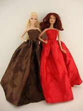 Set of 2 Marvelous Strapless Ball Gowns in Red and Brown Made to Fit Barbie Doll