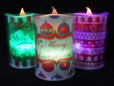 3x Colour Changing Christmas Candles, Flickering Xmas Pillar Candles 4.5""