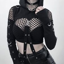 Long Sleeve Shoulder Hooded Hoodies Women Black Crop Tops Gothic Cosplay