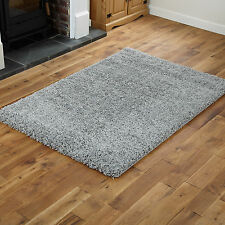 Small Large Modern Quality 5cm Thick Silver Grey Shaggy Rugs / Round / Runners
