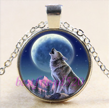 Wolf With Moon Photo Cabochon Glass Tibet Silver Chain Pendant Necklace
