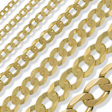 9CT GOLD CURB CHAIN 16 18 20 22 24 ENGLISH ROPE POW BELCHER ROLO LINK FREE BOX