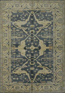 Oushak Rug, 6'x9', Grey/Ivory, Hand-Knotted Wool Pile