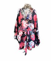 Heine Plus Size 44 Multicoloured Top Wrap Kimono Floral Print Long Sleeve Sheer