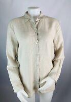 J. Jill Medium Women's Love Linen Long Sleeve Button Front Shirt Top Tan Beige