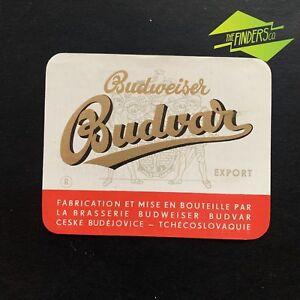"""VINTAGE 1960'S """"BUDVAR"""" CZECH BUDWEISER EXPORT BEER BOTTLE LABEL"""