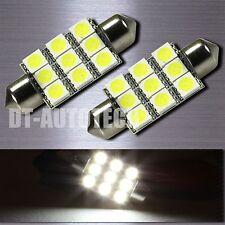 2X SMD 9-LED Map/Dome Interior Lights Bulbs 6000K Xenon White 39MM Festoon