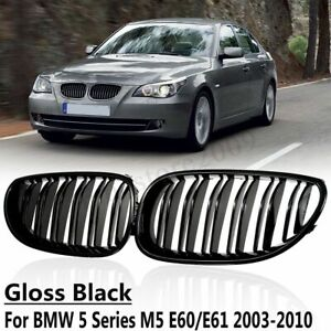 Front Twins Kidney Grilles Grill For BMW 5 Series E60 E61 2003-2010 Gloss Black