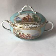 Rare Meissen Pot Couvert Sucrier Avec Miniatures De Putti  Au Lion 18 Cth