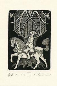 Fairy Tree House & Horse Rider, Ex libris Free Graphic Etching by Igor Baranov