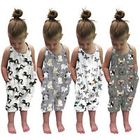 Toddler Girls Baby Kids Jumpsuit One Piece Cartoon Strap Romper Summer Outfits