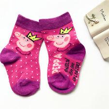 Rose Pink Peppa Pig Cute Girl Kid Soft cotton Socks 2-5T Good for Summer Autumn