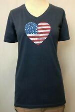 """New Life is Good Women's """"USA Heart"""" T-Shirt, Blue, M"""