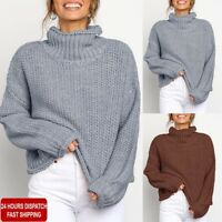 Winter Womens Knitted Sweater Jumper Ladies High Neck Pullover Tops Blouse Tunic