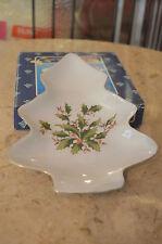 Christmas White Porcelain Tree Shaped Plate. Ring Holder, Jewelry Trinket Dish