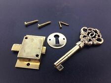Fancy Brass Grandfather Clock Front Door key and Lock Set
