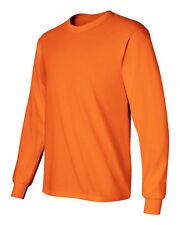 6 NEW Gildan 50/50 2400 Safety Orange Adult Long Sleeve T-Shirt 2XL 3XL 4XL 5XL