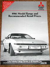 1986 MITSUBISHI RANGE PRICE LIST inc Shogun - Starion
