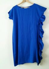 NOMMO DESIGNER SHIFT DRESS WITH FRILL DETAIL BLUE UK 14  BNWT  RRP £90