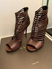 GUCCI LEATHER BROWN STRIPES HIGH HEEL SANDALS SHOES SZ 38
