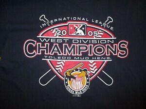 vtg TOLEDO MUD HENS 2005 CHAMPIONS T SHIRT Minor League Baseball Muddy Mascot MD